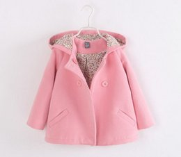 Wholesale Girls Dust Coat - New 2016 Children's coat, han edition girls double-breasted hooded baby cloth coat dust coat Girls coat wholesale