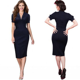 Wholesale Women S Sleeve Bodice Dress - Dark Navy Bodice Fashion Knee Length Women Formal Work Dresses Sheath Lantern Sleeves Slim Sexy OL Work Dresses Free Shipping FS0073