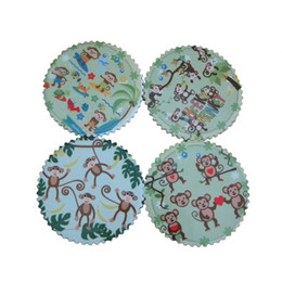 Wholesale Small Monkey Wholesale - Small Placemats Temperature Resistance Set of 4 Cheeky Monkey Designs Heat Tranfer Painting Ceramic-dolomite Table Coasters Size : 7cm