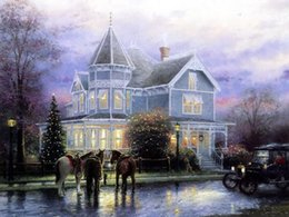 Wholesale High Quality Horse Oil Painting - Light House, Horses in snow street, High Quality Landscape Art oil painting For Home Wall Decor HD Print on Canvas in custom size