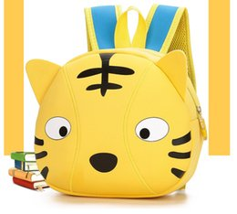 Wholesale Tiger Print Bags - Cartoon children burden bag nylon three-dimensional small tiger nursery backpack boys and girls printing travel backpack