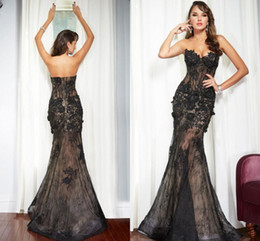 Wholesale Cheap Gothic Tops - Black Lace Mermaid Evening Dresses Sweetheart See Through Top Champagne Inside Multi Color Gothic Prom Pageant Party Gowns 2016-2017 Cheap