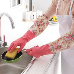 Wholesale Household Gloves Dishwashing - Waterproof Household Gloves Printing Brushed Thickened Warm Dishwashing Gloves Water Dust Stop Cleaning Rubber Gloves Three colors