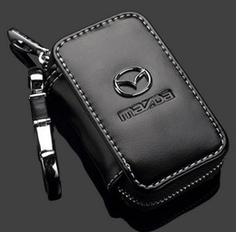 Wholesale mazda key cover - Mazda Key Case Premium Leather Car Key Chains Holder Zipper Remote Wallet Bag for Mazda key cover accessories Key Bag