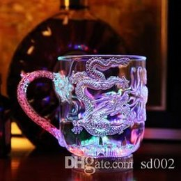 Wholesale music mugs - Glow Glass Wine LED Light Dragon Cups Into The Water Bright Beer Mug Luminous Colorful Bar Party Cup Personalized 5 5jc F