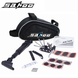 Wholesale Folding Bicycle Bags - SAHOO Bike Bicycle Cycling Portable Repair Tools Bag Folding 15 in 1 Tyre Repair Multifunctional Kit Set With Pouch Pump