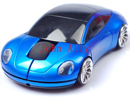 Wholesale Wireless Optical Mouse Blue - Brand new Mini Car Wirless Mouse 2.4G Optical Mouse Wireless Car Auto Ray Mice (Blue Red Gray) PC Laptop Notebook MAC WIN7 XP With USB