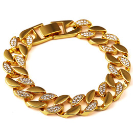 Wholesale Hip Mens Bracelets - Fashion Mens Regula Bracelets Link 20CM Chains Hip Hop Jewelry Studded Crystal Design Stainless Steel 18K Gold Plated Punk Rock Micro Rap