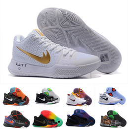 Wholesale Blue Ball Game - 2017 New Arrival Kyrie Irving 3 Signature Game Basketball Shoes For Top Quality Men white Sports Training Basket ball Sneakers Size 40-46