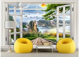 Wholesale outside window - 3d wallpaper custom photo non-woven mural Chinese scenery outside the window decoration painting 3d wall murals wallpaper for walls 3 d