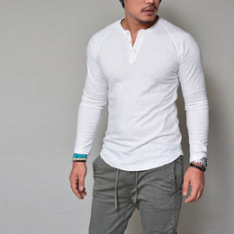 Wholesale Home Casual - 2017 autumn explosion, round neck, pure color explosion button, long sleeved T-shirt, fitness, leisure home fashion street men free shipping