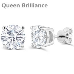 Wholesale Moissanite Diamond Earrings - Queen Brilliance 2ctw Lab Created Moissanite Diamond Stud Earrings For Women Platinum Plated 925 Sterling Silver Earring Jewelry q171026