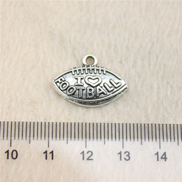 Wholesale Antique Jewelry Football - 40Pcs 21*15mm antique Silver ToneI love football Charms Zinc Alloy DIY Handmade Jewelry Pendants Wholesale