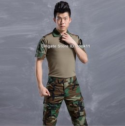 Wholesale Emerson Shirt Pants - Summer army camouflage fatigues german military uniform multicam camo short sleeve combat shirt + emerson tactical pants paintball clothing
