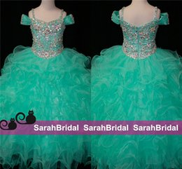 Wholesale Infant Pageant Dresses Sleeves - Teal Green Flower Girls Dresses Crystals Long Little Girl's Pageant Kids For Girl Infant 2016 Cheap Glitz First Communion Prom Ball Gowns