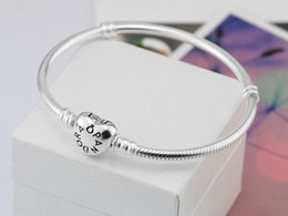 Wholesale Factory Setting - Factory Wholesale Silver plated heart clasp Bracelets 3mm Snake Chain Fit Pandora Charm Bead Bangle Bracelet Jewelry Gift Men Women