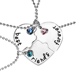 "Wholesale Girls Necklaces Set - 3pcs set ""best friends forever"" Pendant Necklaces Heart Shaped Rhinestone Lucky Beads Friendship BFF Creative Girls Keepsake 981"
