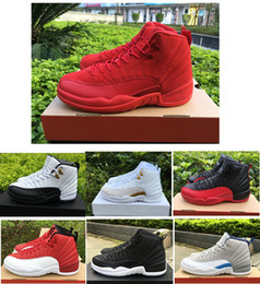 Wholesale Perfect Game - New cheap air retro 12 ovo white Flu Game wolf grey Gym red taxi gamma french blue Suede men basketball shoes Perfect sneakers