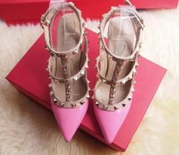 Wholesale Ivory Wedding Sandals Heel - new Women Rockstud pointed rivet ivory white color high-heeled Women valentine T-strap across instep wedding Sandals