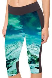 Wholesale Tight Shorts Leggings - Sports Yoga Capri Pants Women Bottom Leggings Fashion Quick-Drying High Waist Tight Cropped 3D Print Bodybuilding Skyscape Galaxy LN7Slgs