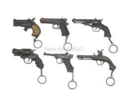 "Wholesale Double Barrelled - 1 Set=6Pcs Metal Pistol Gun Model Toy Guns w Key Chains,Revolver+""54"" Pistol+Long-barrelled+Double Barrel+Tortoise Box+Gunpowder Toy Guns"