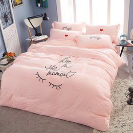 Wholesale Hand Embroidery Bedding Set - 2016 Hot Selling 4Pcs Set Miss Eyelash Embroidery Washed Cotton Bedding Sheets Comforter Duvet Cover Sheet Sets Bedclothes Bed Linen