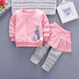 Wholesale Toddler Girl Spring Dress Coat - 2pc Toddler Baby Girls Clothes Rabbit Long Sleeve Coat+False Pants Dress Casual Clothing Autumn Children Clothing 1-4Years