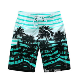Wholesale Quick Drying Swim Trunks - Wholesale-Men Swimwear Board Shorts Male Coconut Trees Printing Quick Dry 100% Polyester Sports Beach Wear Swimming Trunks Running Shorts