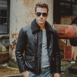 Wholesale Force Leather Jacket - Fall-3 colors Men's real leather jacket pigskin Genuine Leather motorcycle jacket air force flight jackets aviator coat men