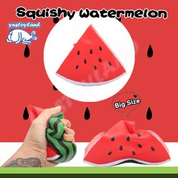 Wholesale Triangle Packaging - 12CM Jumbo Triangle Watermelon Squishy Slow Rising Retail Packaging Charms Fruit Scented Pendant Bread Kid Toy Gift