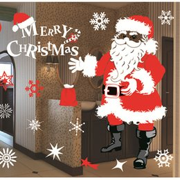 Wholesale Christmas Home Window Stickers - 5PCS Christmas Window Stickers waterproof Background Sticker Environmental protection Christmas Decals home decoration 72 * 52cm 130g