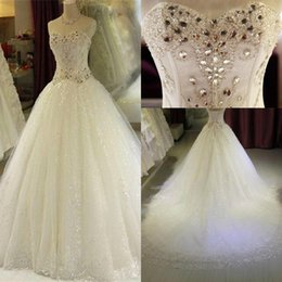 Wholesale Lace Corset Rhinestone Wedding Dresses - Crystal Rhinestones Sweetheart Wedding Dresses 2018 Luxury A Line Lace Sequins Corset Back Bridal Gowns Custom Made