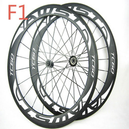 Wholesale Matte Decals - 1 year warranty 60mm full carbon zi carbon wheels white decal 23mm width basalt surface 700C bicycle carbon wheels with powerway hubs