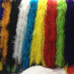 Wholesale Marabou Ostrich Boa - Ostrich Feather Boa 5pcs lot 200cm Long Luxury Ostrich Feather Boa Wedding For Party Marabou Feather Boa Scarf Costume Ostrich Feather Strip