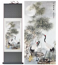 Wholesale Paintings Chinese Silk - 1 Piece Bamboo And Crane Aniaml Home Office Decoration Chinese Scroll Silk Wall Art Poster Picture Painting For Living Room
