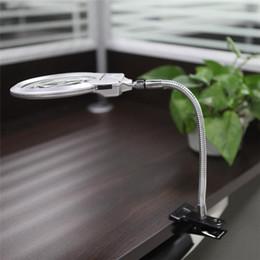 Wholesale Desktop Lamps - Magnifier Loupe 2.5X 5X LED Illuminating Magnifier Metal Hose Magnifying Glass Desktop Magnifiers Reading Lamp Light with Clamp