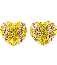 Wholesale Yellow Chandelier Earrings - 2017softballsunny usa sports softball red drop oil heart yellow crystal hook earrings studs