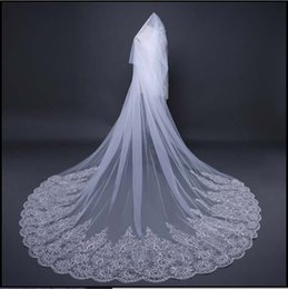 Wholesale Diamond Edge Cathedral Veil - The new bride wedding veil white lace Diamond Long Tail exquisite Wedding Veil Bride accessories