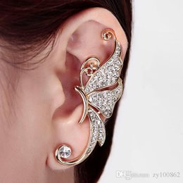 Wholesale Ear Stud Butterfly - South Korean society full of exaggerated drill butterfly earrings earrings No ear hole hanging ear stud earrings