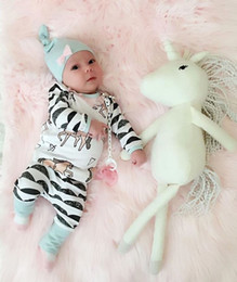 Wholesale Cute Babies Hats - Newborn Kids Baby Boy Girl suits Horse print long sleeve t shirt+cute Pants+Hat 3pcs Outfits bow casual children striped hot Clothes 0-24M