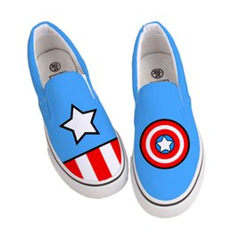 Wholesale Captain Painting - New Arrival Cartoon Captain America Logo Hand Painted CanvasShoes,OutdoorLeisureFashionSneakers,UnisexCasualShoes Hot Items