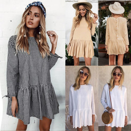 Wholesale White Loose Sleeve Dress - 2017 autumn Women long sleeve loose lace Dress fashion new Vestido vintage female mujer casual ruffles short mini dress
