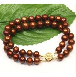 Wholesale South China Sea Black Pearls - two rows hot AAA 9-10mm south sea chocolate pearl bracelet 7.5-8 inch 14k