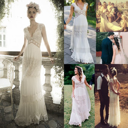 Wholesale Beach Lace Wedding Dresses - Vintage lihi hod Wedding Dresses Sheer Deep V Neck Backless Bohemia Lace Applique 2016 Wedding Gowns Chiffon Court Train Long Bridal Dress