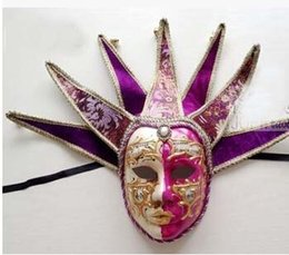 Wholesale Italian Face Masks - purple 7 Angle mask Venice fancy dress party high-end Italian all face hand antique carnival mask