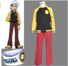 Wholesale Soul Eater Free Cosplay - Free shipping ! Anime Soul Eater Soul Evans Cosplay Jacket Coat Pants Headband Costumes