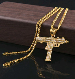 Wholesale Rhinestone Gun Necklace - Mens Hiphop Jewelry Full CZ diamond pistol Submachine gun Hip Hop Pendant Necklace with 3mm 24inch chain Wholesale
