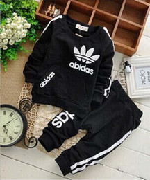 Wholesale Boys Tracksuits Free Shipping - AD baby boys and girls suit kids brand tracksuits kids coats+pants 2 pcs sets free shipping hot sale new fashion spring autumn