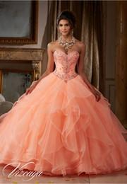 marfil 15 años vestidos Rebajas 2019 Pricness vestidos de quinceañera en cascada de volantes de tul con cuentas de cristal dulce 16 vestidos largos de fiesta de baile Vestidos de desfile
