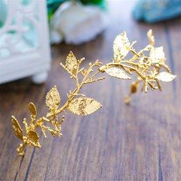 Wholesale Gold Leaf Hair Band Accessories - Gold Leaf Baroque Tiara Headband Flower Crown Hair Jewelry Bridal Hairband Headpiece Hair Band Wedding Hair Accessories Wigo 0983